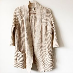 Lucky Brand Waterfall Hem Cardigan Cream/Oatmeal L